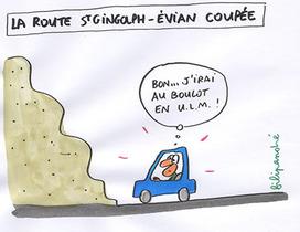 La route Evian/Saint-Gingolph coupée